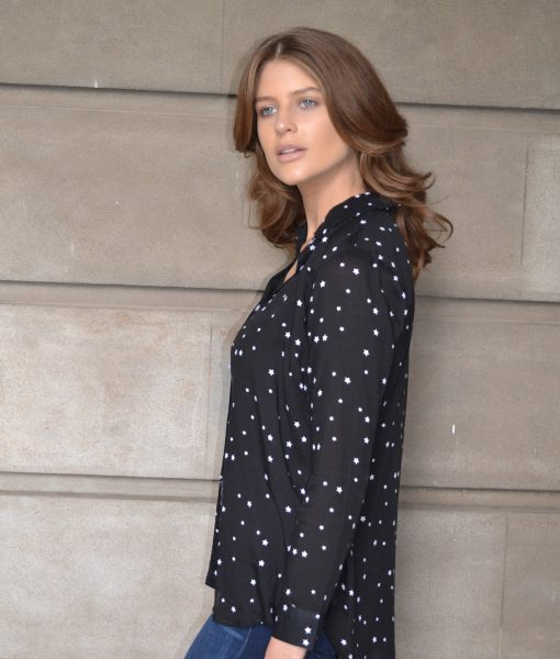 St Tropez Shirt black with white stars