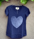 T'shirt denim with white heart