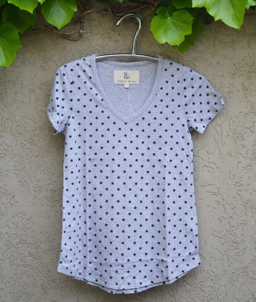 T'shirt grey marle navy stars