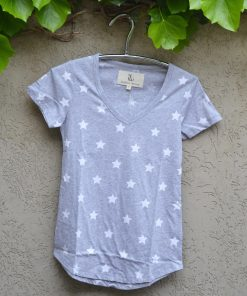 T'shirt grey marle white stars