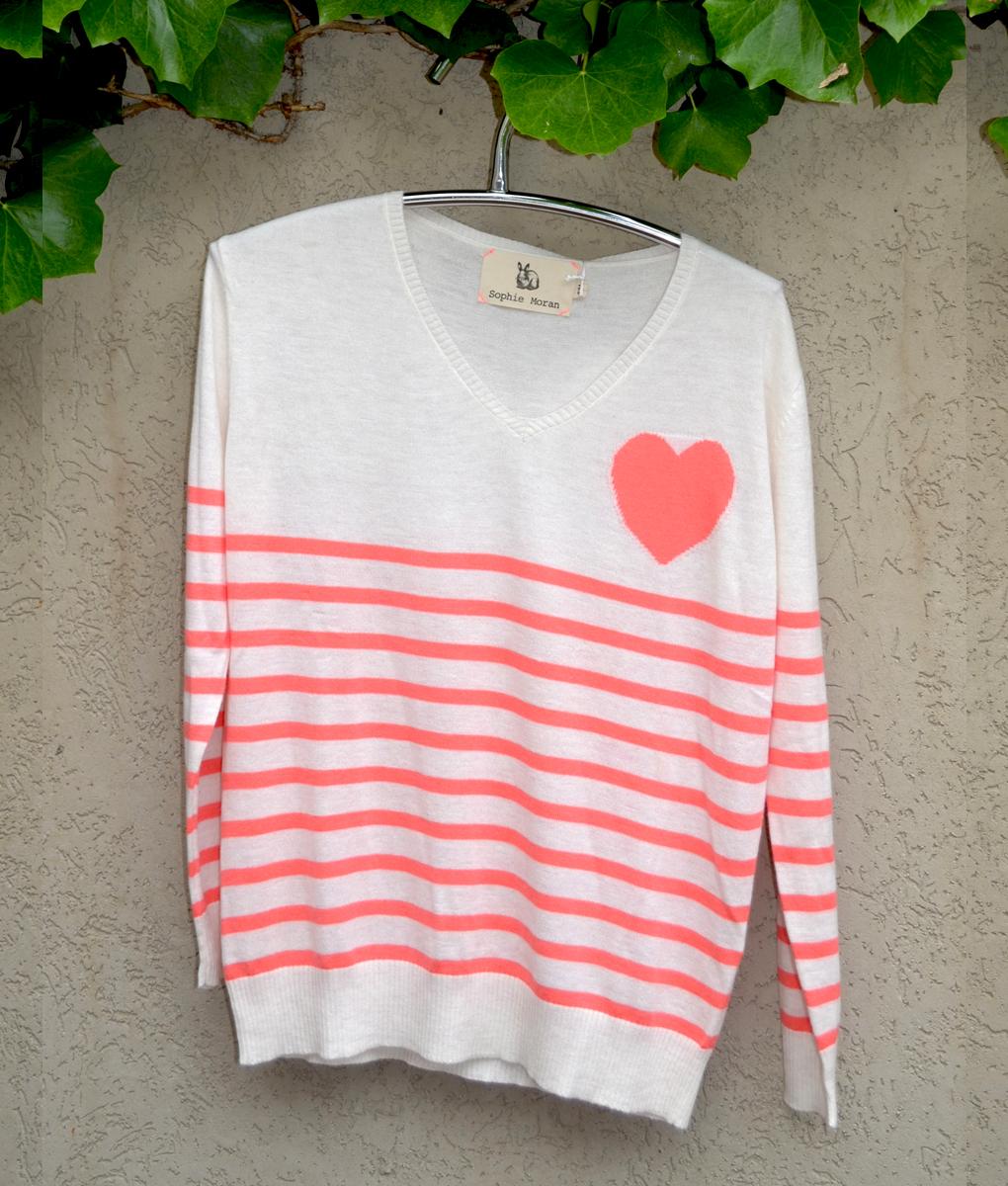Stripe sweater oatmeal and guava