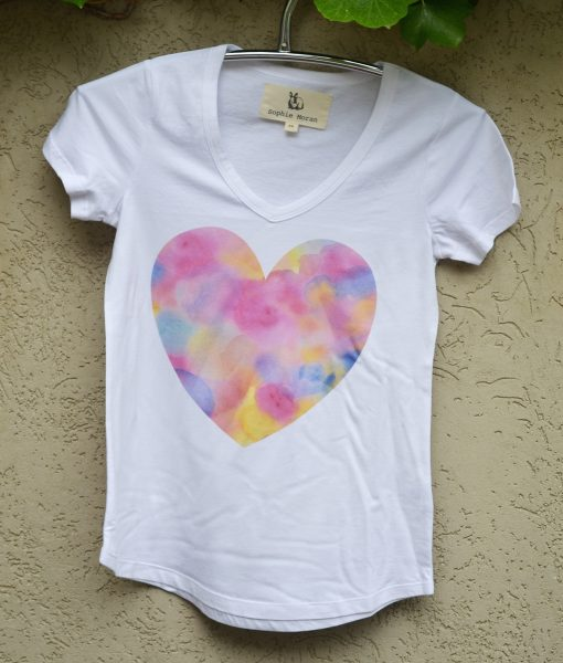 T'shirt white with pretty heart