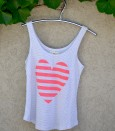 Singlet grey with coral heart