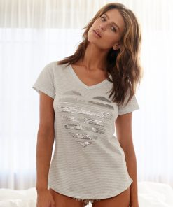 T'shirt grey white silver sequin heart