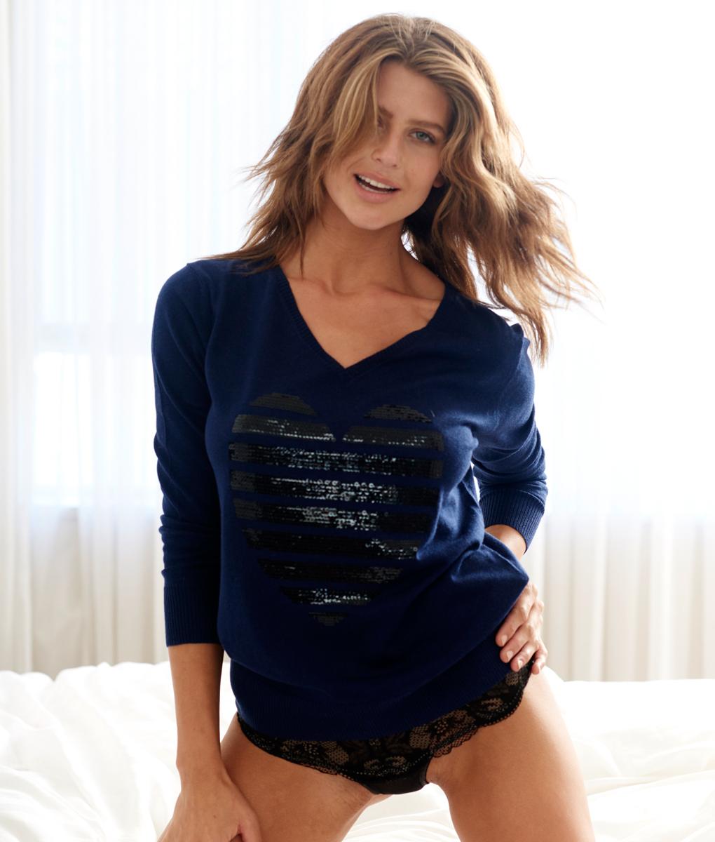 Silk cashmere sequin heart sweater