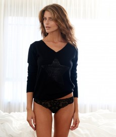 Silk Cashmere sequin star sweater black