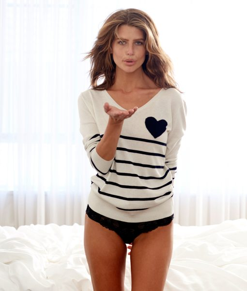 Silk Cashmere Stripe Heart cream and navy
