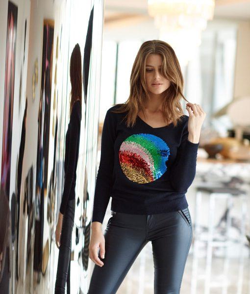 Rainbow Sequin Spot Sweater