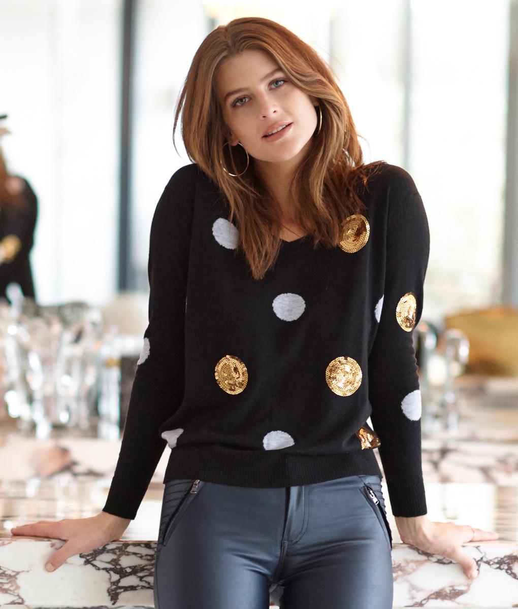 merino black spot sweater