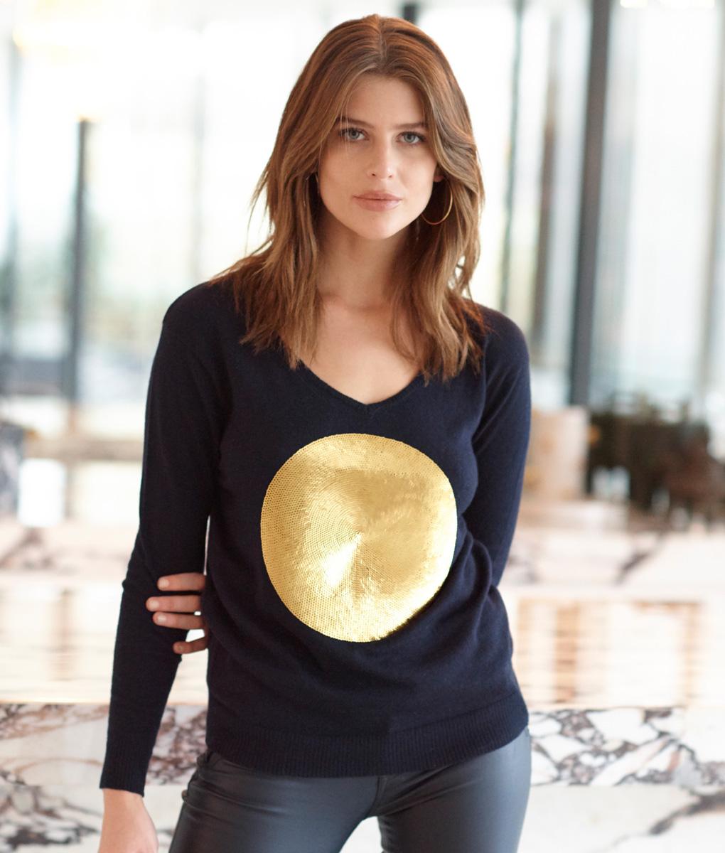 Gold Sequin Spot Sweater