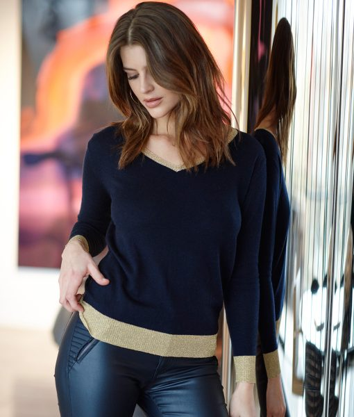 Marino Sweater Navy with Gold Trim