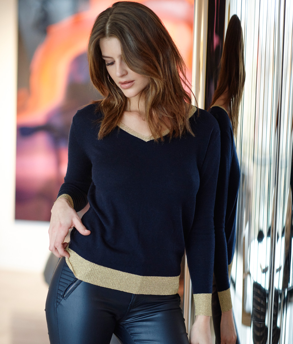 Marino Sweater Navy with Gold Trim
