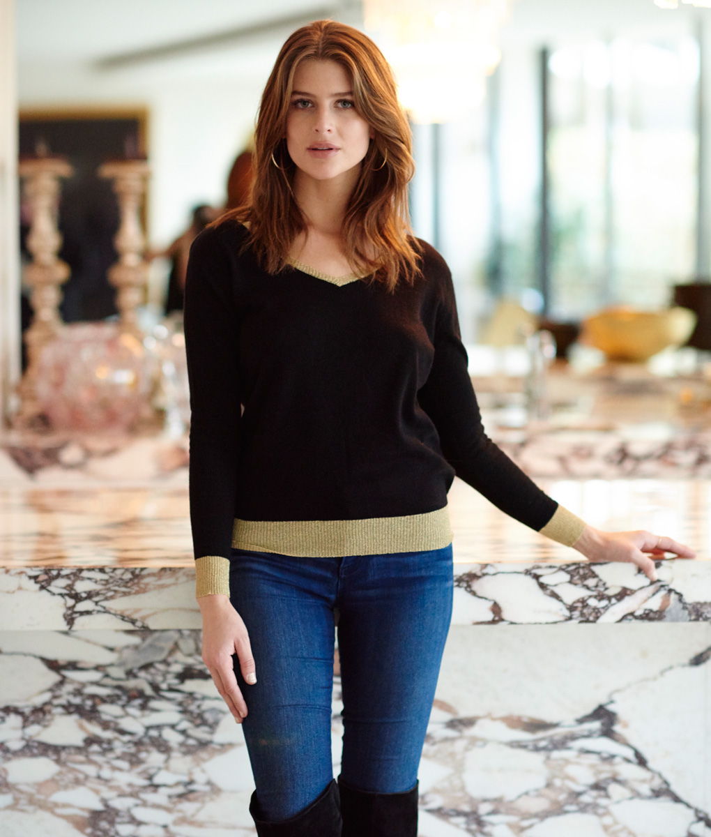 Merino Sweater Black Gold Trim