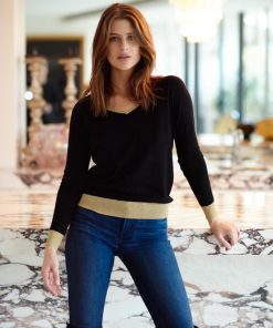 Merino Sweater Black Gold Trim