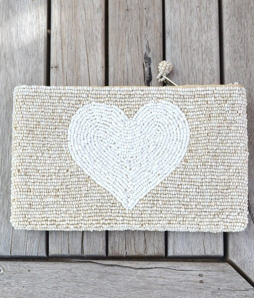 Purse Natural with WHITE HEART