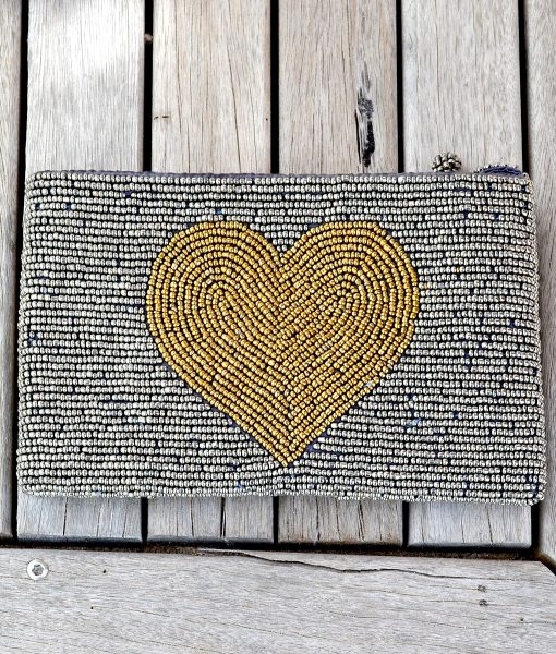 Purse Silver with GOLD HEART