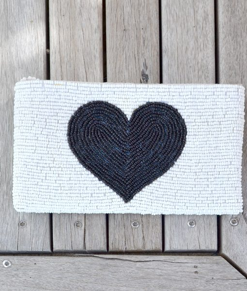 Purse White with Black Heart heart