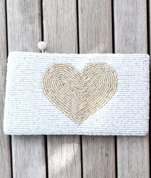 Purse white with Natural HEART
