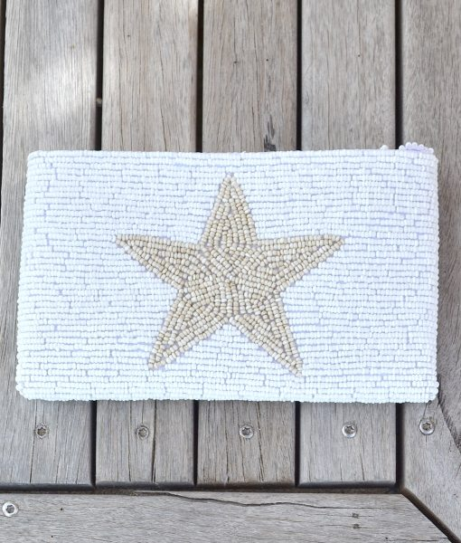 Purse white with Natural STAR