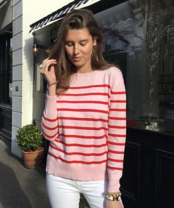 Breton Sweater red and pink stripe