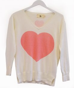 Cream coral heart sweater