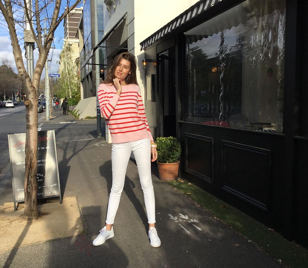 Cotton cashmere stripe sweater