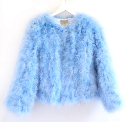 Turkey Feather Jacket Baby Blue
