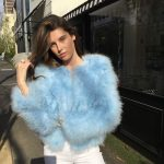 Turkey feather jacket baby blue
