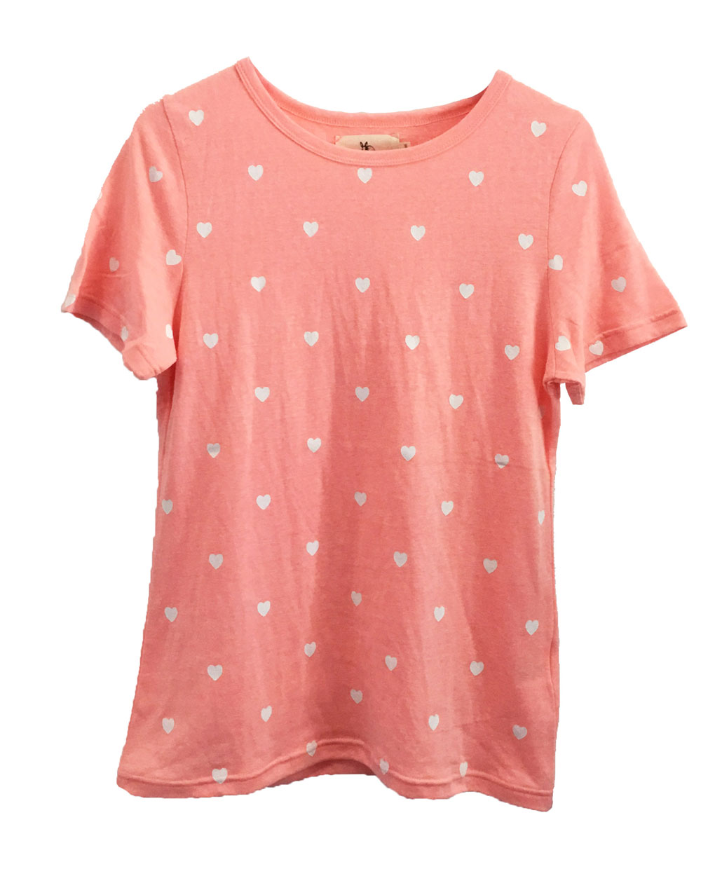 Mini heart cotton t shirt coral