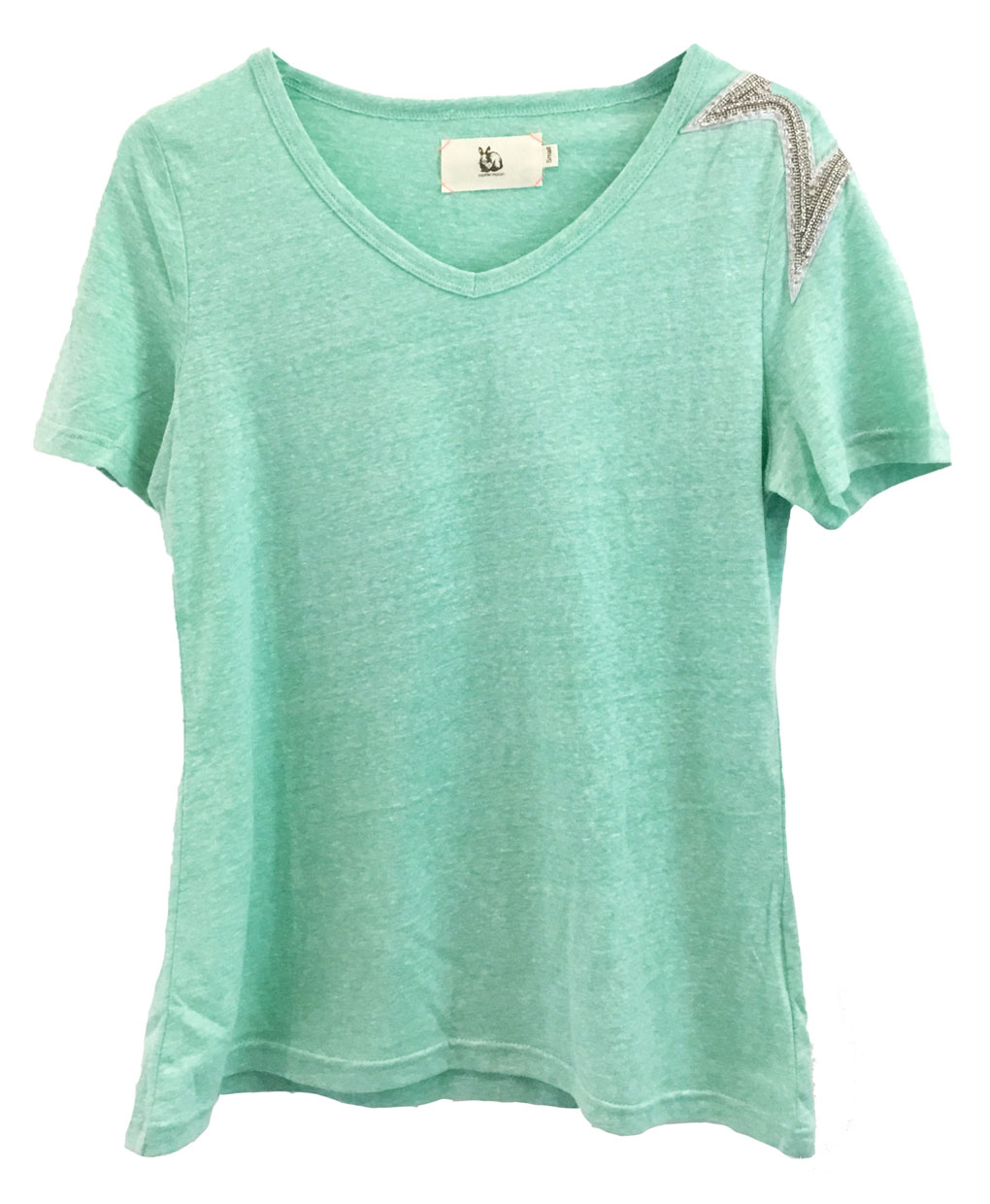 sequin shoulder cotton t shirt