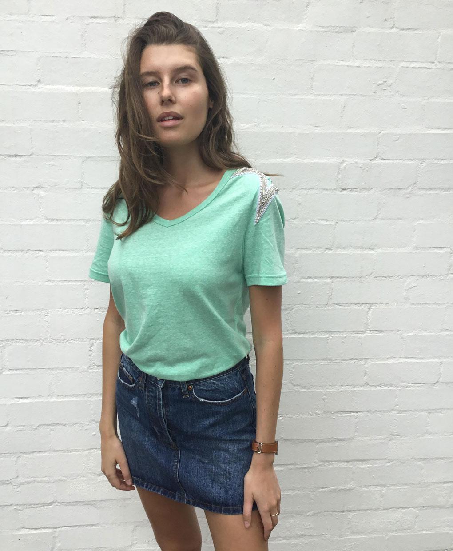 sequin shoulder cotton t shirt