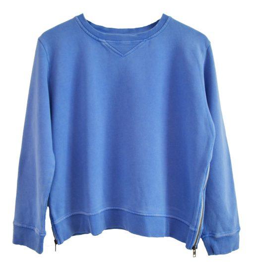 Zip Sweater blue plain