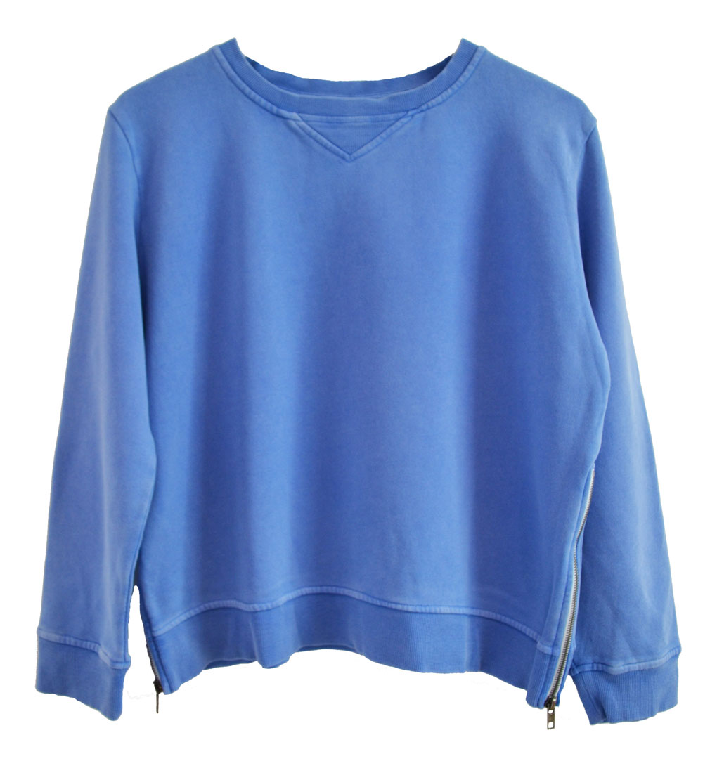 Zip Sweater blue plain