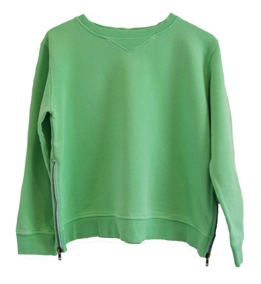 Zip Sweater green plain