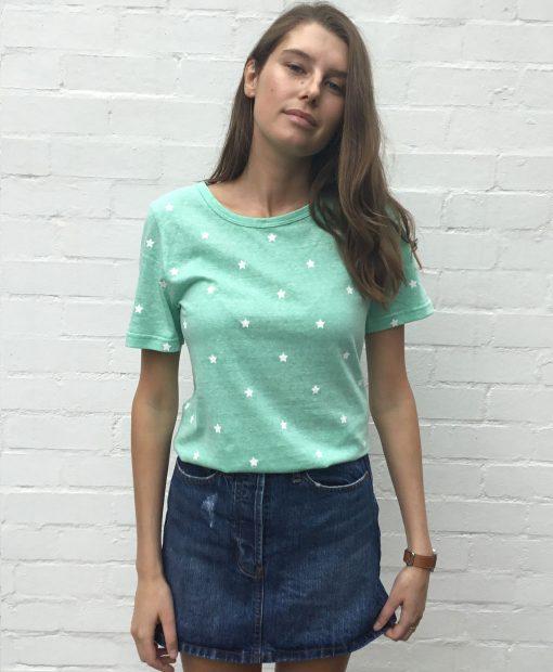 Mini star cotton tshirt minty green