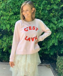 pink C'est La Vie zip sweater