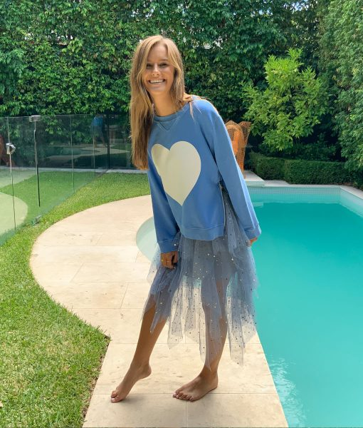 zip sweater blue heart