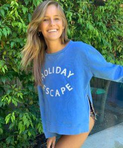zip sweater blue