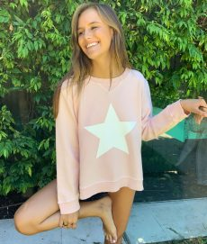 zip star pink sweater