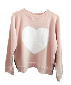 pink heart zip sweater