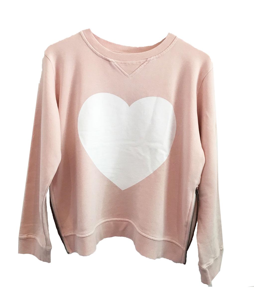 pink heart zip sweater