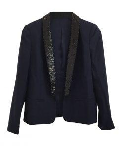 Tuxedo Sequin Jacket Navy