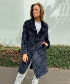 Long Rabbit Fur Coat Navy