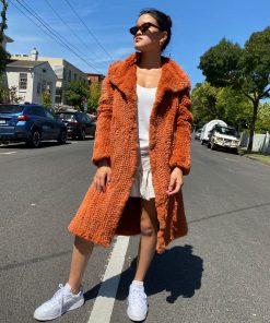 rust colour long fur coat