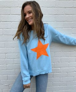 blue sweater orange star