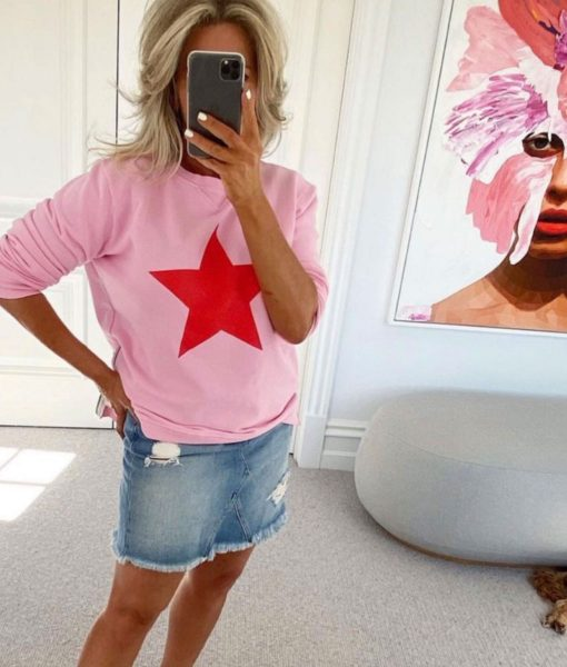pink red star sweater