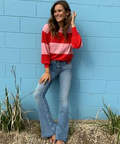 red & pink stripe sweater