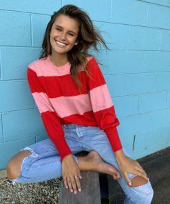 red & pink stripe sweater