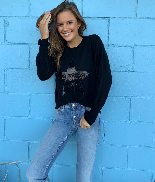 black sequin star sweater