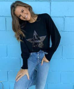 black sequin star sweater